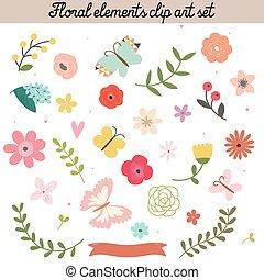elementos florais, corte arte, jogo