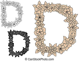 elementos florais, d, letra, capital