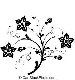 elementos florais, desenho, vetorial