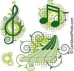 elementos florais, musical, sinais
