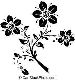 elementos florais, para, desenho, vetorial