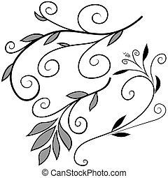 elementos florales, f