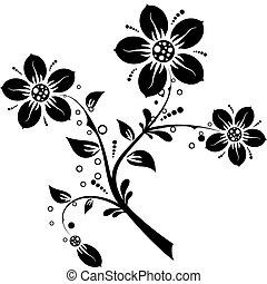 elementos florales, para, diseño, vector