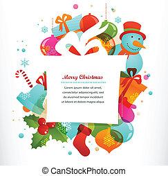 elementos, fundo, presente xmas, natal