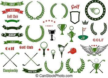 elementos, golf, artículos, deporte, o, golfing