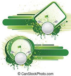 elementos, golfe, desenho