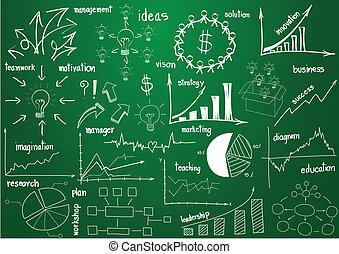 elementos, gráficos, y, diagramas