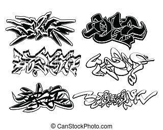 elementos, grafiti, conjunto