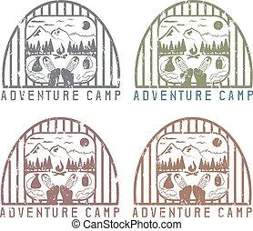 elementos, grunge, excursionismo, vendimia, etiquetas, botas, campo, conjunto, aventura