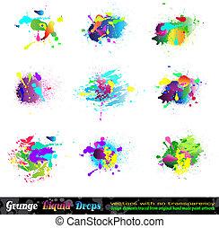 elementos, grunge, respingo, desenho, cobrança