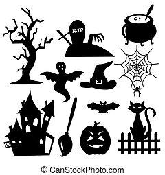elementos, halloween, colección