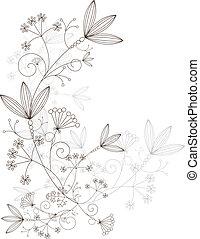 elementos, herboso, hierbas, ornamento, vector, diseño