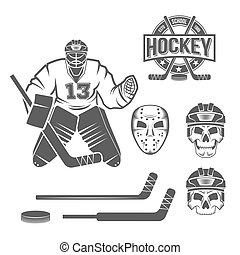 elementos, hockey, hielo, portero