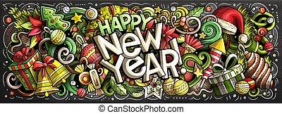 elementos, illustration., 2019, objetos, diseño, año, nuevo...