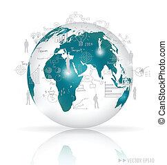 elementos, illustration., globo, moderno, graph., vector, ...