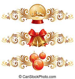 elementos, &, -, ilustração, símbolos, vetorial, desenho, feriado, natal