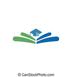 elementos, ilustración, aislado, graduado, educación, vector, logotipo, icono