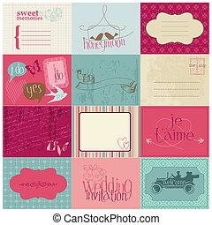 elementos, invitación, -for, vector, diseño, boda, álbum de...