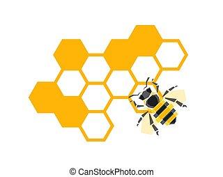 elementos, isolado, abelha, vetorial, desenho, fundo, favos mel