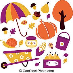 elementos, isolado, jogo, outono, jardim, branca
