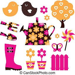 elementos, jardim, &, isolado, objetos, desenho, branca