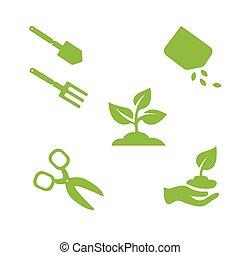 elementos, jardim, isolado, objetos, desenho, branca