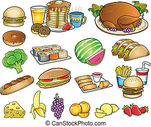elementos, jogo, alimento, bebida, vetorial, refeição