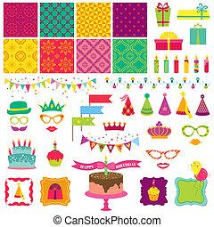 elementos, jogo, -, aniversário, vetorial, desenho, scrapbook, partido, feliz