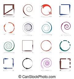 elementos, jogo, arrows., desenho