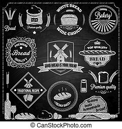 elementos, jogo, panificadora, pão, chalkboard