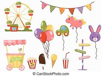elementos, jogo, parque, festival, vetorial, ilustrações, caricatura, divertimento