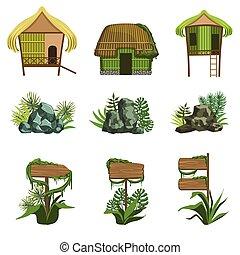 elementos, jogo, selva, paisagem