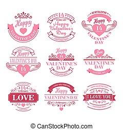 elementos, jogo, tipografia, ilustração, valentine, vetorial, hearts., dia
