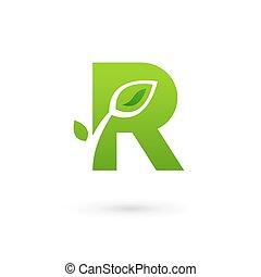 elementos, letra, eco, folhas, r, desenho, modelo, logotipo,...
