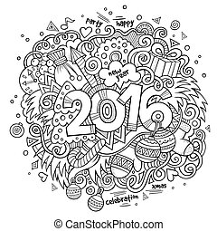 elementos, lettering, novo, fundo, doodles, mão, ano