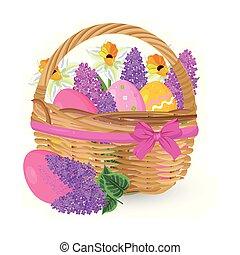 elementos, lilás, ovos, vector., cesta, feriado, páscoa, flores