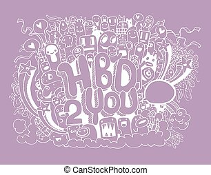 elementos, mão, aniversário, fundo, partido, desenhado, doodles