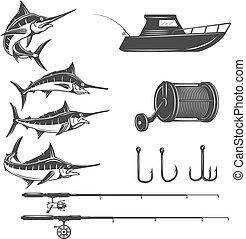 elementos, mar, señal, pez,  menú, aislado, profundo, emblema, Plano de fondo,  vector, diseño, iconos, espada, imágenes, etiqueta, blanco, logotipo, Ilustración