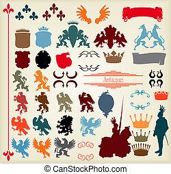 elementos, medieval, caballero, vector, vendimia, jinete