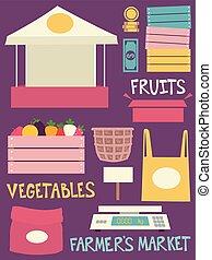 elementos, mercado, ilustração, agricultores