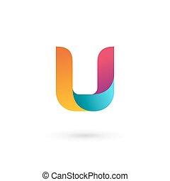 elementos, modelo, logotipo, ícone, letra, desenho, u