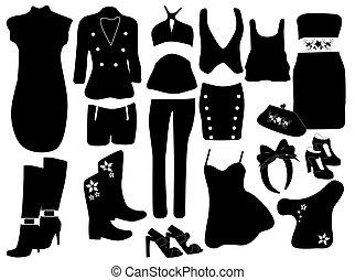 elementos, mulheres, moda