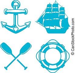 elementos, náutico, océano