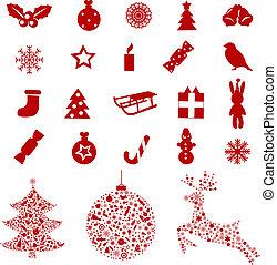 elementos, natal, ícones
