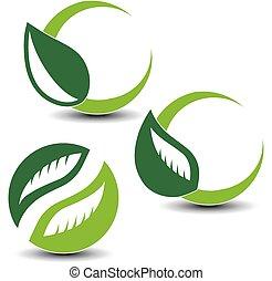 elementos, natural, naturaleza, simple, hoja, símbolos, vector, circular
