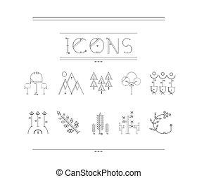 elementos, natureza, logotype, desenho, fundo, branca