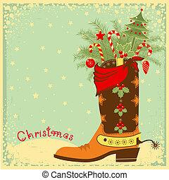 elementos, navidad, bota, vaquero