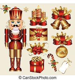 elementos, navidad, tradicional