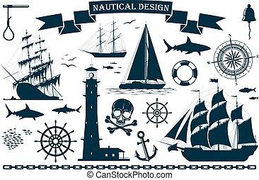 elementos, navios velejando, projeto fixo, náutico