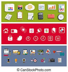 elementos, oficina, empresa / negocio, trabajo, conjunto, ...
